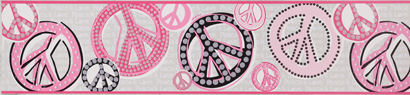 Peace Sign Glitter Hot Pink Wall Paper Border  - Kids Wall Decor Store