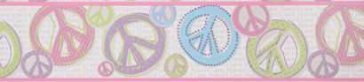 Peace Sign Glitter Pastel Wall Paper Border - Kids Wall Decor Store