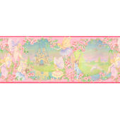 Pink Fairy Castle Wall Paper Border SALE
