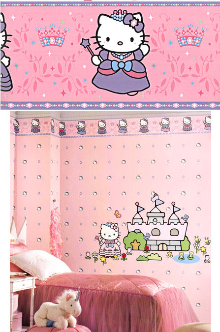Hello Kitty Pink Princess Wallpaper Border - Kids Wall Decor Store