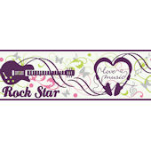 Pink  Rock N Roll  Wallpaper Border