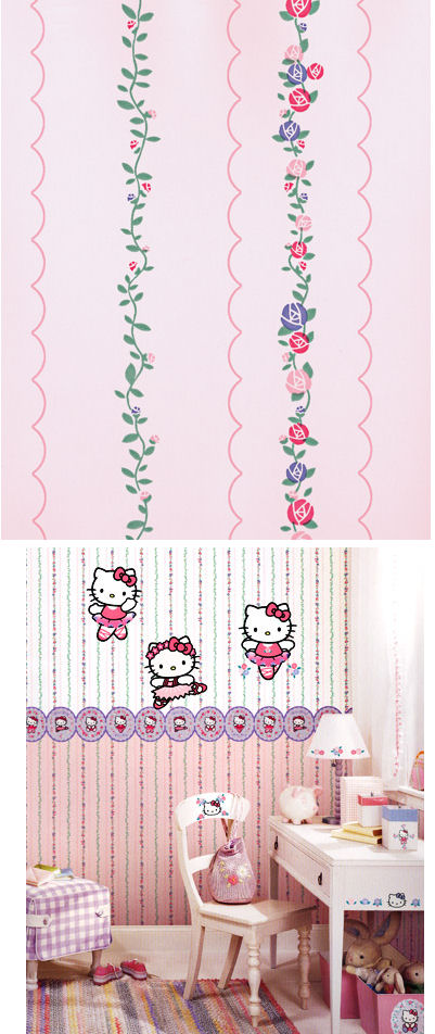 Hello Kitty Pink Scallop Trail Wallpaper - Kids Wall Decor Store