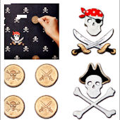 Pirate Coin and Skull and Cross Bones Wall Charms