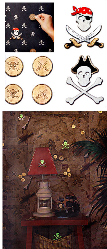 Pirate Coin and Skull and Cross Bones Wall Charms - Kids Wall Decor Store