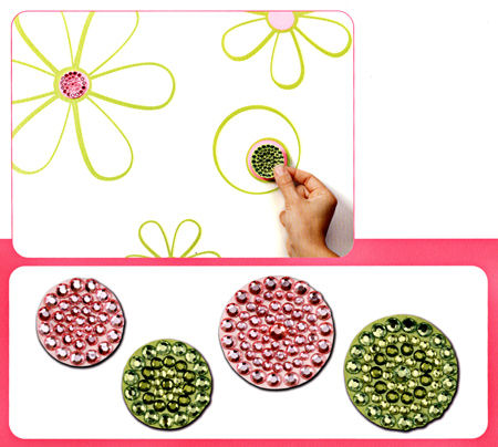 Razzle Dazzle Lime Green and Pink  Wall Charms - Wall Sticker Outlet