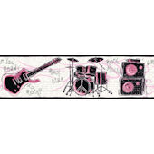 Ready to Rock Pink Wallpaper Border SALE