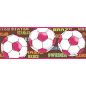 She Scores Soccer Brown Wallpaper Border SALE