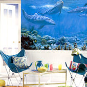 Swimming Dolphins Chair Rail Mural