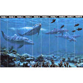 Swimming Dolphins Full Wall Mural