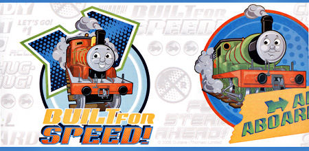 White Thomas and Friends Wallpaper Border SALE - Wall Sticker Outlet