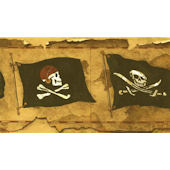 Vintage Pirate Flag Worn Wallpaper Border