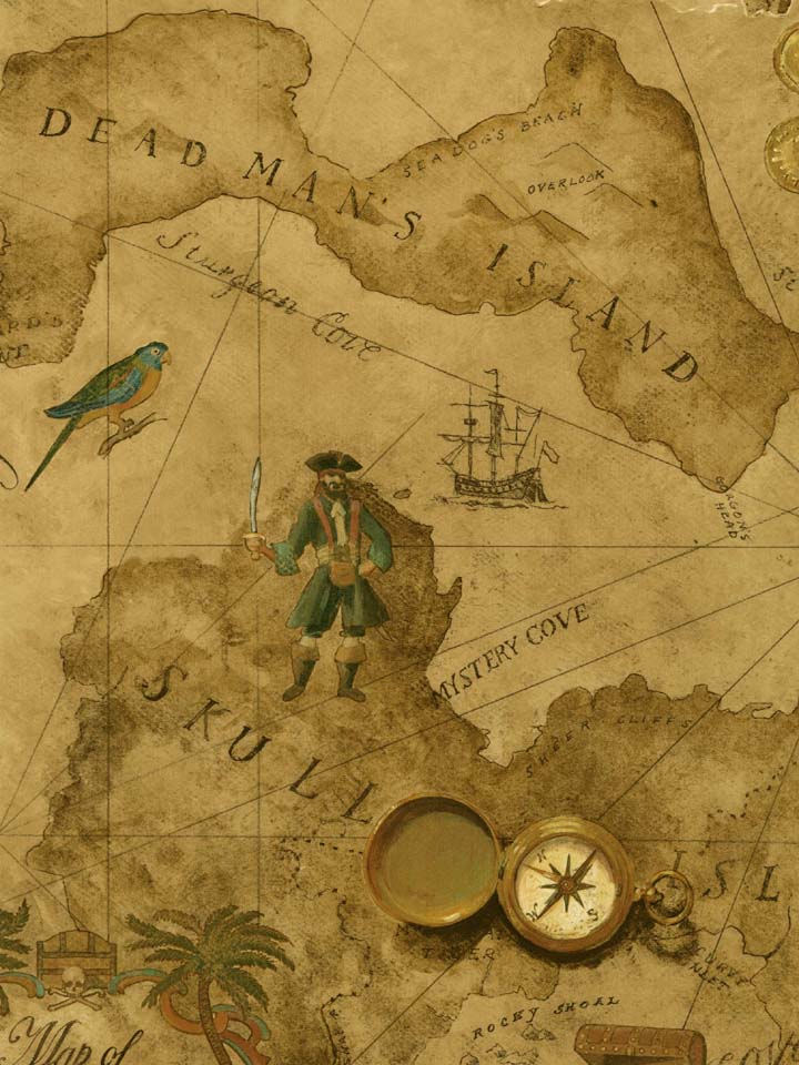 Vintage Pirate Treasure Map Wallpaper - Kids Wall Decor Store
